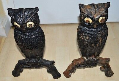 Antique 1900 Folk Art American Cast Iron Painted Eye Owl Andirons #29