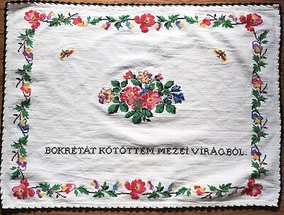 Vintage Crewel Hand Embroidered Table Cloth Topper Runner HUNGARIAN