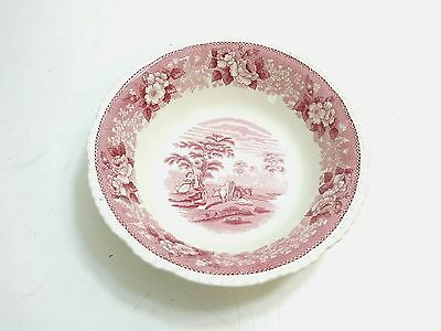 """Antique Adams """"english Scenic"""" Staffordshire Pink Vegetable Serving Bowl"""