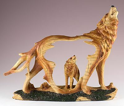 "Wolf Howling Carved Wood Look Figurine Resin 8.5"" Long New In Box!"