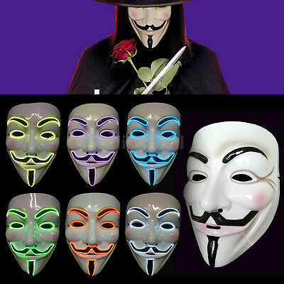El Wire LED Light Up V for Vendetta Anonymous Guy Fawkes Neon Rave Cosplay Mask