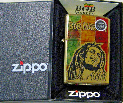 ZIPPO FUSION Lighter BOB MARLEY Music  GUITAR Mint in Box  BRASS  29490