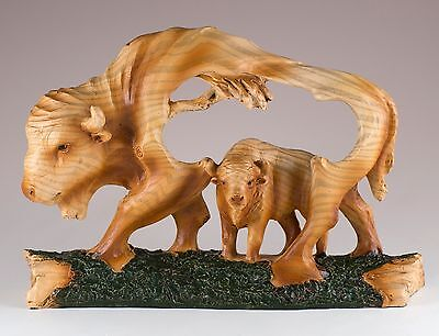 "Bison Buffalo Carved Wood Look Figurine Resin 6.75"" Long New In Box!"