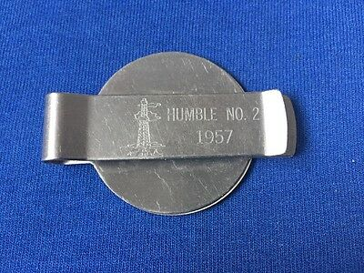 Vintage Humble Oil Co Well No. 2 Money Clip From 1957 Made In Usa 22 Yr Calender