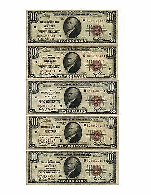5 Different 1929 $10.00 F R B N NEW YORK, NY. Currency FR#1860-B CIRCULATED