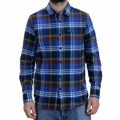 Volcom Caden Long Sleeved Flannel Shirt Navy Skate Surf Snow New Free Delivery