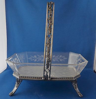 Victorian Wilcox Silver Plate Brides Footed Basket W/Etched Glass Floral Bowl