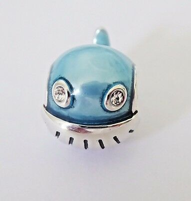 FROSTY BLUE DOLPHIN w CLEAR CRYSTAL EYES 925 Sterling Silver European Charm Bead
