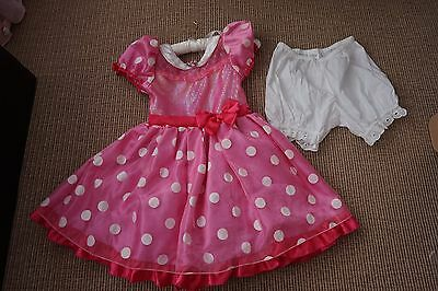 Official Disney Store Pink Minnie Mouse Dress + Bloomers - Age 7-8 - Disneyland
