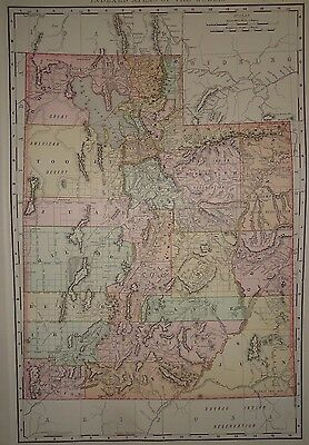 Vintage 1893 ~ UTAH ~ Map Old Antique Original World Atlas Map