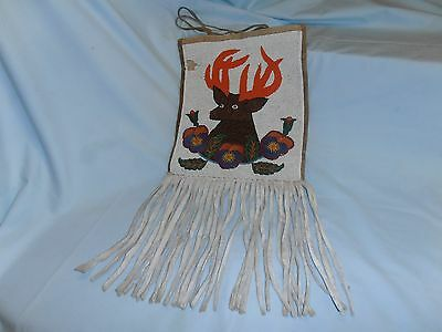 Stunning~Large Antique~23X11~American Indian~Handmade Beaded Leather Bag/pouch