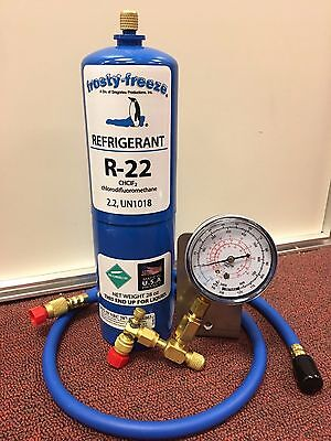 R22 Refrigerant R-22, Air Conditioner, 28 oz LARGE, Recharge Kit A1, Check Gauge