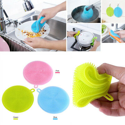 Soft Silicone Sponge Scrubber Fruit Dish Washing Kitchen Cleaning Tool Household