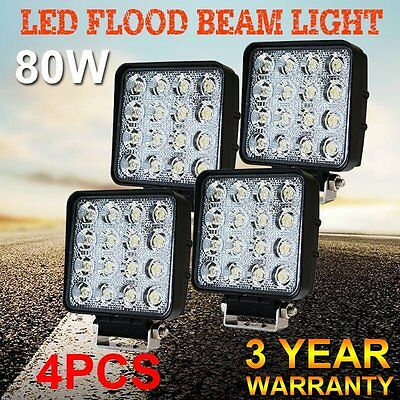 4x 80W LED Work Light Philips Flood Lamp Off Road 12V 24V Boat Camping Fishing W
