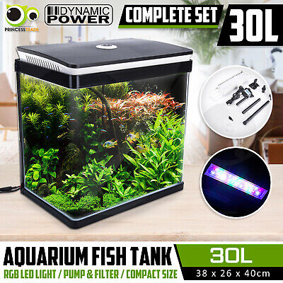 Aquarium Fish Tank Curved Glass RGB LED Light Complete Set Filter Pump 30L