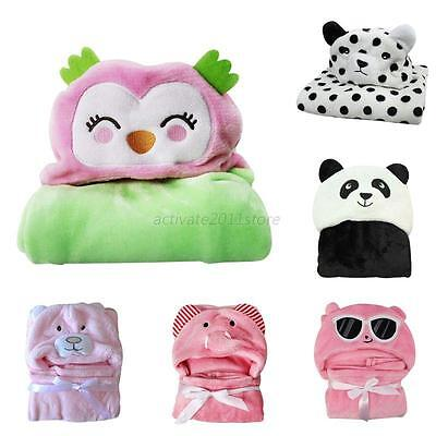 Newborn Infant Babys Soft Hooded Blanket Bath Towel Kids Animal Pattern Bathrobe
