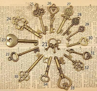 15pcs Mixed Random Antique Vintage Old Look Skeleton Key Lot Crown Bow New Charm