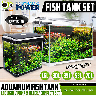 Aquarium Fish Tank Nano LED Light Complete Set Filter Pump 16L 30L 35L 52L 70L