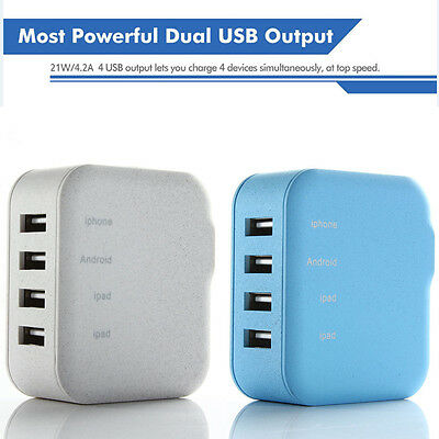Lumsing 21W 4-Port USB Wall Charger Portable Travel AC Adapter w/ Foldable Plug
