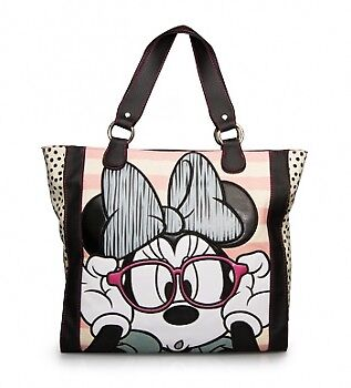 Tote Bag - Disney - Minnie Mouse with Glasses Striped Licensed wdtb0289