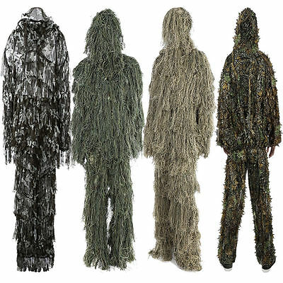 Adults 3D Camouflage Jungle Camo Leaf Ghillie Suit Woodland Hunting Suit 4 Kinds