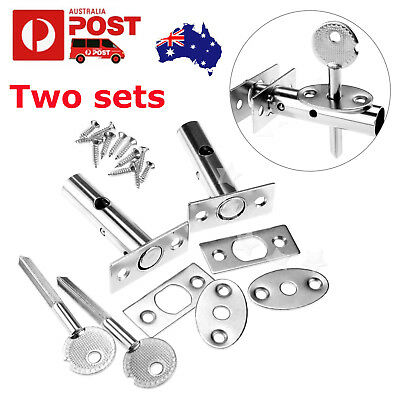 2x Silver Security Door Bolts Deadbolts With Fitting Secure Strong Dead Lock