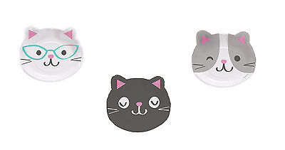 8 x Purrfect Cat Party Plates Cat Lovers Birthday Cat Kitten Shape Face Plates