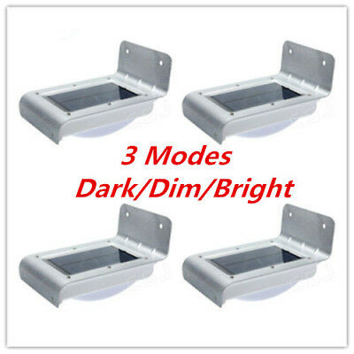 4x Stainless Steel Solar Power LED Motion Sensor Garden Outdoor Wall Light Lamp