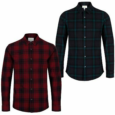 adidas NEO CHECK SHIRT LONG SLEEVE RED BLACK SMART CASUAL MEN'S TARTAN