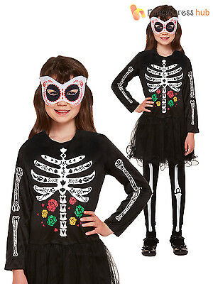 Girls Day Of The Dead Skeleton Costume Childs Halloween Fancy Dress Outfit
