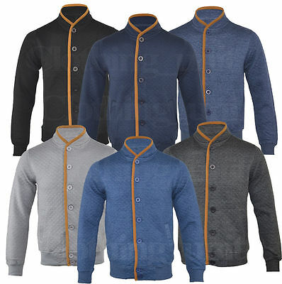 Mens Fashion Quilted Sweatshirt Buttoned Cardigan Top Jacket S-XL