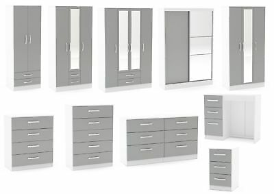 Lynx White & Grey Gloss Bedroom Furniture Wardrobe Chest Bedside by Birlea