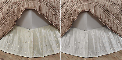 Embroidered Solid Bed Skirt, Willow in White or Creme, Shabby Cottage, 3 Sizes