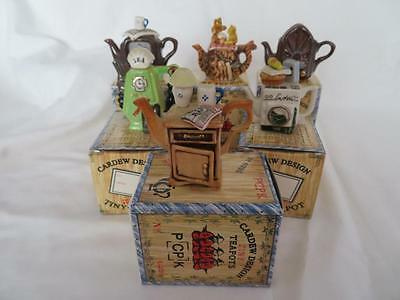 PAUL CARDEW Selection TINY TEAPOTS EXC CONDITION, BOXED Petrol Pump Televison
