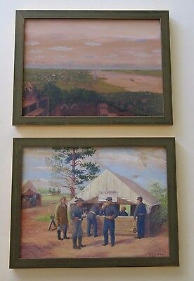 2 John Metheny Listed Antique Painting Illustration Original Civil War Soldiers