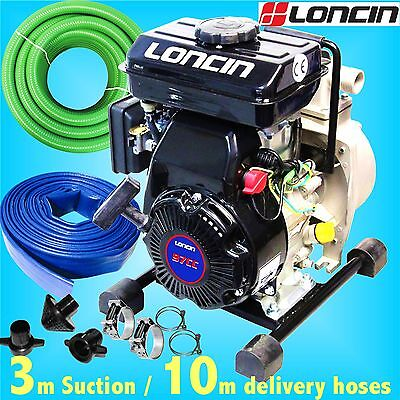 Loncin 25mm 1 Petrol Water Drainage Pump 8000L trench footing cellar flood pond
