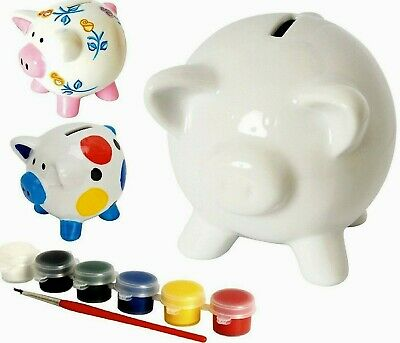 Paint your own Piggy Bank Money Box Party Present Stocking Filler Gift Ceramic