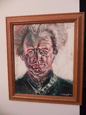 Vintage Impressionist Portrait Oil On Canvas Onto Panel By Michael Woodford