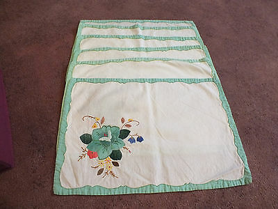 Beautiful Embroidered Appliqued Placemat Set 6 White Mint Green Silver Holder