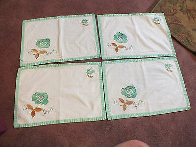 Beautiful Embroidered Appliqued Placemat Set 4 White Mint Green Napkin Holder