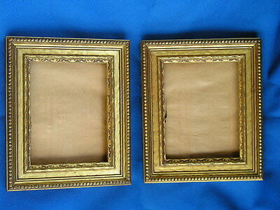 Vintage Ornate Edge Pair of Bronze~Gold~Ripple Gilt Picture Frames 3 3/4~4 3/4