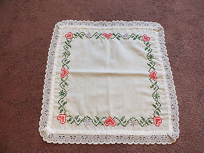 """Embroidered Table Linen White Lace Trim Pink Green Lavender 12"""" CUTE"""