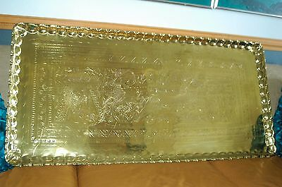 """51"""" EGYPTIAN Chariot Cat's Hunt Scene BRASS TRAY TABLE Top Wall Decor HUGE 21 LB"""