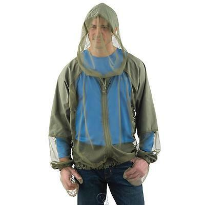 The Hooded Zip Up Mosquito Jacket Olive Green Size S/M Lightweight 1.2mm Netting