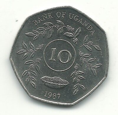 High Grade Bu 1987 Ughanda 10 Shillings Coin-Agt565