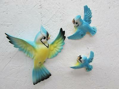 Vintage Norcrest Lefton Blue Bird Momma & Babies Wall Plaque Set Blue Jay