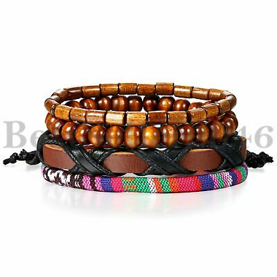 Tribal 4pcs Set Leather Beaded Cuff Wristband Bangle Bracelet for Men Women