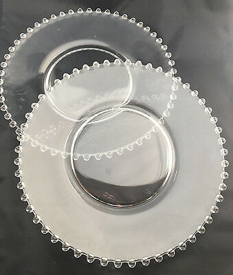"""2 Dinner Plates 10"""" Candlewick Candle Wick Clear Glass Vintage 3400 Imperial"""