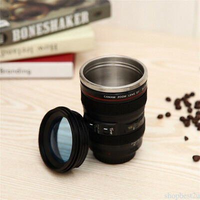 Camera Lens Shaped 24-105mm  Drink Thermos Coffee Cup with lids Mug -Black
