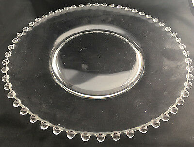 """1 Dinner Plate 10"""" Candlewick Candle Wick Clear Glass Vintage Stem 3400 Imperial"""